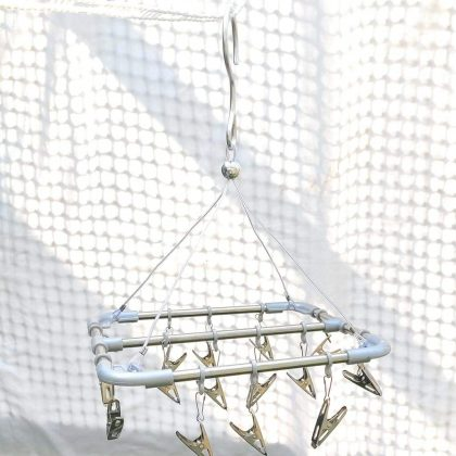 Drying Clip Hanger Rack Square Stainless Steel with Steel Pegs Clips Hanger Hooks Pegs for Clothes Undergarments,Socks, Small clothes and Baby Clothes – 14 Steel Pegs